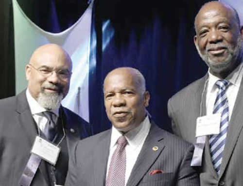 The Rev. Dr. Timothy Stewart (center), PNBC 58th president, kicked off the 58th Annual Session at the Historic Ebenezer Baptist Church along with two of his trusted allies. (Roy Lewis/The Washington Informer)
