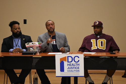 Clayton A. Rosenberg, Ambrose Lane Jr. and Christopher Hawthorne take part in an Aug. 22 meeting of the DC Health Justice Coalition. (Roy Lewis/The Washington Informer)