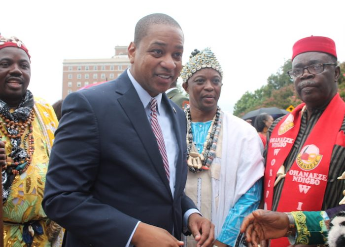 Virginia Lt. Gov. Justin Fairfax greets the African chiefs of Cameroon at the Commemoration of the First African Landing at Ft. Monroe on Aug. 24. (DR Barnes/The Washington Informer)