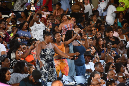 Concertgoers at the 2019 Summer Spirit Festival, presented by CD Enterprises on Saturday, Aug. 3, at the Merriweather Post Pavilion in Columbia, Md., on their feet dancing to homegrown sounds from Backyard Band, Be'la Dona featuring Sugar Bear of EU, Sirius Company, and R&B and soul from Jhene Aiko, Raphael Saadiq and many more. (Anthony Tilghman/The Washington Informer)