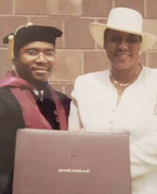 Lee Ross and her son, Dr. Robert Edwards III, following his law school graduation (Courtesy of Ross family)