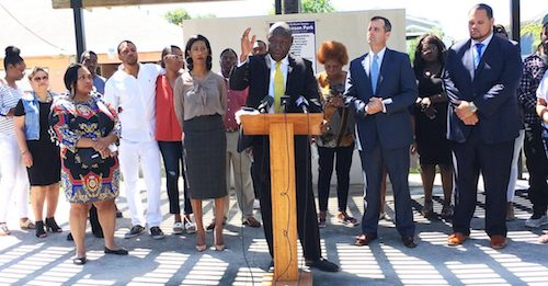 Civil rights attorney Benjamin Crump addresses media at historic Jack Johnson Park in Galveston, Texas. (Jeffrey L. Boney/NNPA Newswire)
