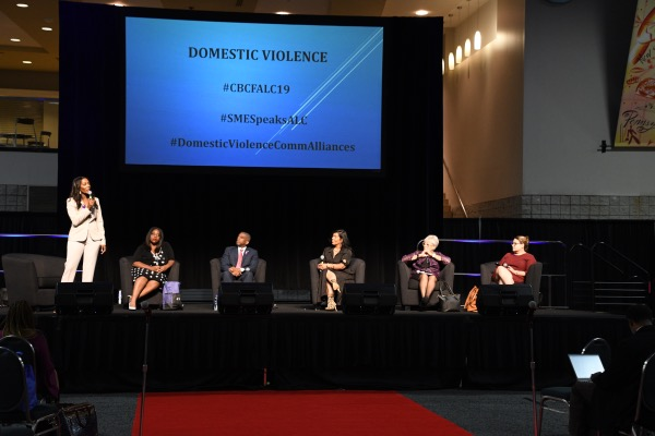 The Rev. Janelle Johnson (left) moderates a discussion on domestic violence at the Congressional Black Caucus Foundation's Annual Legislative Conference at the Walter E. Washington Convention Center in Northwest on Sept. 13. (Anthony Tilghman/The Washington Informer)