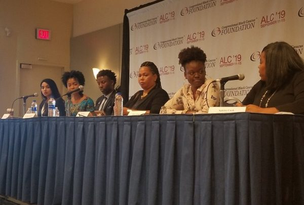 Shakira Cook (right), a program director for the Leadership Conference on Civil and Human Rights, moderates a discussion on racial and social equity in the cannabis industry at the Congressional Black Caucus Foundation's 49th Annual Legislative Conference in Northwest on Sept. 12. (William J. Ford/The Washington Informer)