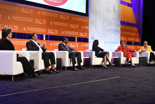 Virginia state Sen. Jennifer McClellan (D), National Urban League President Marc Morial, NAACP President/CEO Derrick Johnson, American Medical Association President Patrice Harris, NNPA Columnist Dr. Julianne Malveaux and Dr. Jonetta Cole, president of the National Council of Negro Women, participate in the Congressional Black Caucus National Town Hall on Sept. 12. (Roy Lewis/The Washington Informer)