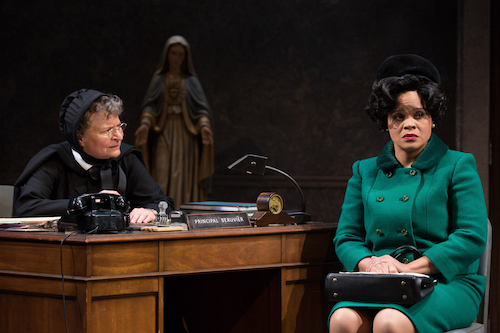 "Sarah Marshall (left) and Tiffany M. Thompson star in ""Doubt: A Parable,"" playing at the Studio Theatre through Oct. 6. (Teresa Wood/Studio Theatre)"