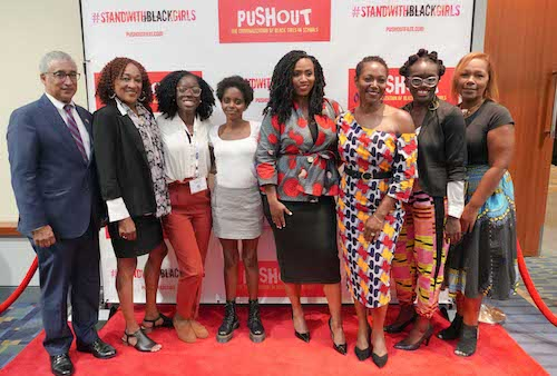 "Rep. Ayanna Pressley (fifth from left) hosted a post-film discussion after a screening of ""Pushout: The Criminalization of Black Girls in Schools"" at the Congressional Black Caucus Foundation's Annual Legislative Conference in D.C. on Sept. 12. (Courtesy of Patricia McDougall)"