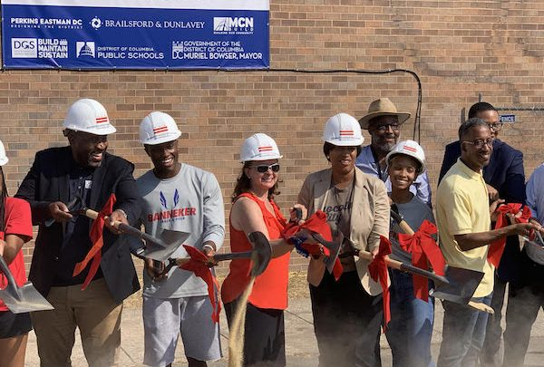 RuQuan Brown (second from left) stands alongside Banneker Academic High School Principal Anita Berger and D.C. Mayor Muriel Bowser as they break ground on the new Banneker site, located on 925 Rhode Island Avenue NW, on Sept. 21. (Courtesy photo)