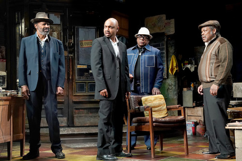 "From right: Anthony Chisholm (Fielding), Francois Battiste (Booster), Harvy Blanks (Shealy) and Ray Anthony Thomas (Turnbo) in ""Jitney"" running through October 20 at Arena Stage at the Mead Center for American Theater in Southwest (Photo by Joan Marcus)"
