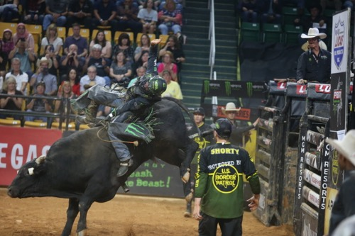 PBR riders at the EagleBank Arena in Fairfax did their best to make the eight-second buzzer. (Photo by Travis Riddick)