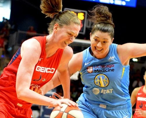 Washington Mystics forward Emma Meesseman (left) attempts to drive past Chicago Sky center Stephanie Dolson during Washington's 100-86 win at the Entertainment and Sports Arena in southeast D.C. on Sept. 8. (John E. De Freitas/The Washington Informer)