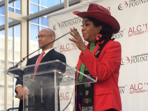 Rep. Frederica S. Wilson speaks at a media briefing during the first day of the Congressional Black Caucus Foundation's Annual Legislative Conference at the Walter E. Washington Convention Center in Northwest on Sept. 11. (Roy Lewis/The Washington Informer)