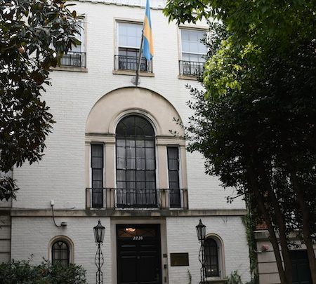 The Bahamian Embassy, located on Embassy Row in northwest D.C., is collecting donations for victims of Hurricane Dorian. (Roy Lewis/The Washington Informer)