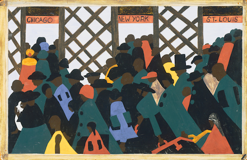 "A panel from Jacob Lawrence's ""Migration Series"" (1940-41), part of which is in The Phillips Collection's permanent collection, is at the center of ""The Warmth of Other Suns: Stories of Global Displacement,"" at the museum through Sept. 22."