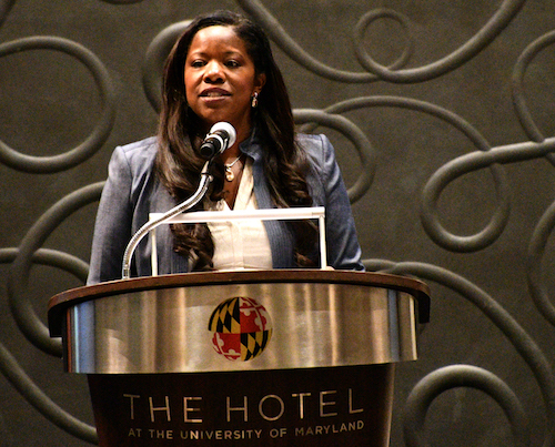Prince George's County State's Attorney Aisha Braveboy speaks at her State of Justice symposium at The Hotel at the University of Maryland in College Park on Sept. 10. (Anthony Tilghman/The Washington Informer)