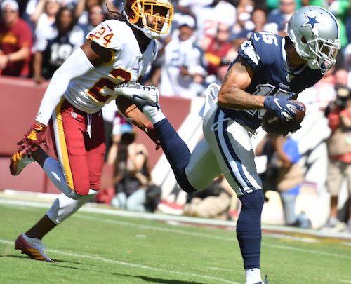 Dallas Cowboys wide receiver Devin Smith outruns Washington Redskins cornerback Josh Norman for a 51-yard touchdown reception during Dallas' 31-21 win at FedEx Field in Landover, Md., on Sept. 15. (John E. De Freitas/The Washington Informer)