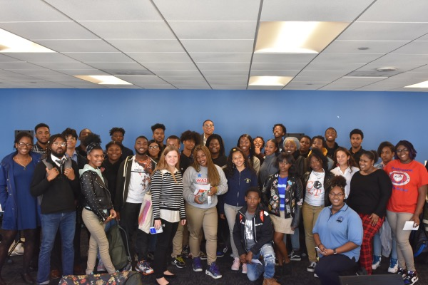 More than two dozen young people lobbied D.C. Public Schools Chancellor Lewis Ferebee for school equity and additional resources during a meeting at the DCPS Central Office on Oct. 28. (Courtesy of DC Public Schools)