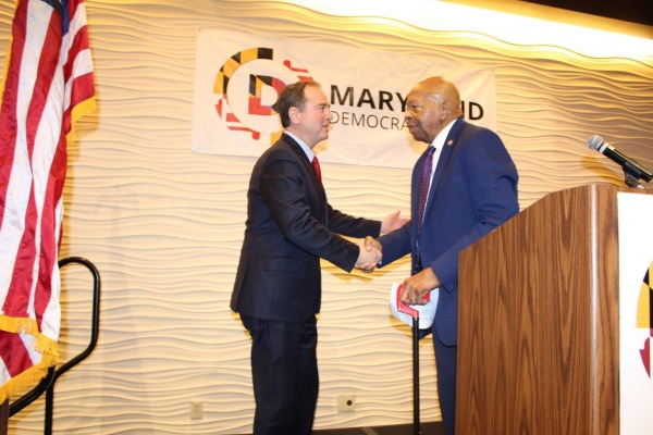 Rep. Elijah Cummings (right) shakes the hand of Rep. Adam Schiff during the Maryland Democratic Party's 20th annual legislative luncheon in Annapolis on Jan. 8. (Brigette Squire/The Washington Informer)