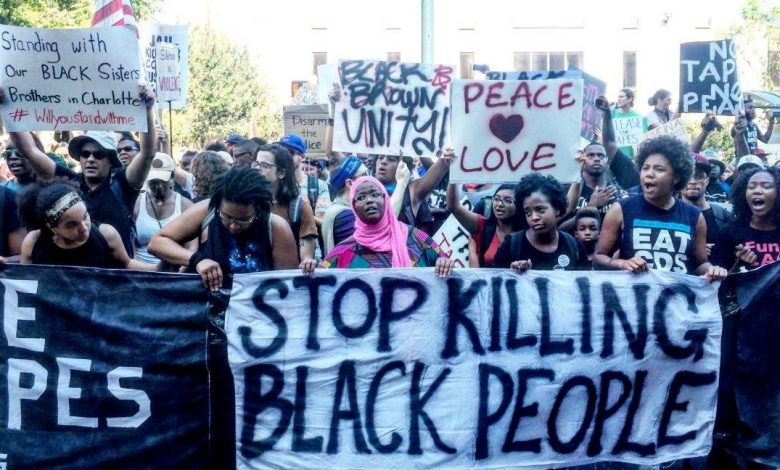 The police shooting of Keith Lamont Scott in Charlotte, North Carolina, sparked several days of protests and calls for fundamental reforms of the police department and criminal justice system. (Photo by Facing South)