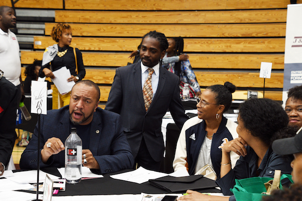 D.C. Council member Trayon White (D-Ward 8) interacts with a group of participants during his State of the Ward address at the Bald Eagle Recreation Center in Southwest on Sept. 30. (Anthony Tilghman/The Washington Informer)