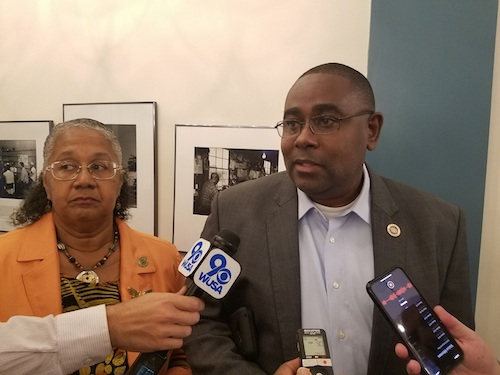 Del. Darryl Barnes (right) speaks with reporters about possible impropriety in the process to award medical cannabis applicants, specifically Black merchants, on Sept. 27. Del. Cheryl Glenn of Baltimore City stands beside him. (William J. Ford/The Washington Informer)