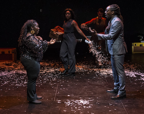 "From left: Denise Manning, Alana Raquel Bowers and Kambi Gathesha in the play ""What to Send Up When it Goes Down"" by Aleshea Harris at THEARC (Teresa Castracane/The Movement Theatre Company)"