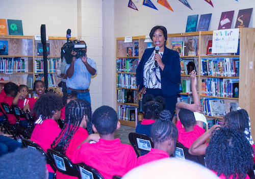 D.C. Mayor Muriel Bowser talks to third graders at Martin Luther King Jr. Elementary School in Southeast about D.C. statehood. (Shevry Lassiter/The Washington Informer)