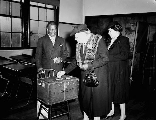 Casting ballots in the race for Fifth District, United States Congress (Lane Brothers Commercial Photographers Photographic Collection, 1920-1976. Photographic Collection, Special Collections and Archives, Georgia State University Library)
