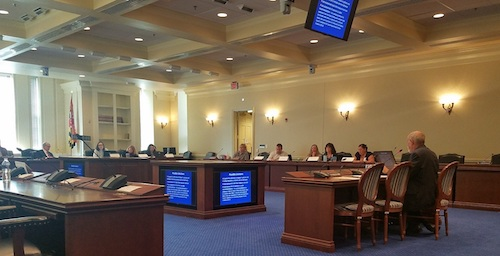 Daniel Saunders (right) speaks in Annapolis on Oct. 1 before a Maryland work group asked to provide recommendations on improving child custody court proceedings. (William J. Ford/The Washington Informer)