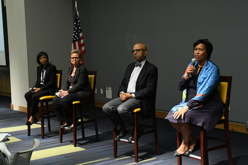 From right: D.C. Mayor Muriel Bowser, former Mayors Anthony Williams and Sharon Pratt and Prince George's County Executive Angela Alsobrooks participate in the State of the District & Region Conference at the University of the District of Columbia on Oct. 5. (Roy Lewis/The Washington Informer)