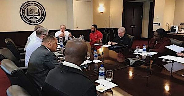 Sen. Tom Carper (D-Del.) joins Delaware State University Executive Vice President and Provost Tony Allen, faculty and students to discuss the Fostering Undergraduate Talent by Unlocking Resources for Education (FUTURE) Act. (Courtesy of NNPA Newswire)