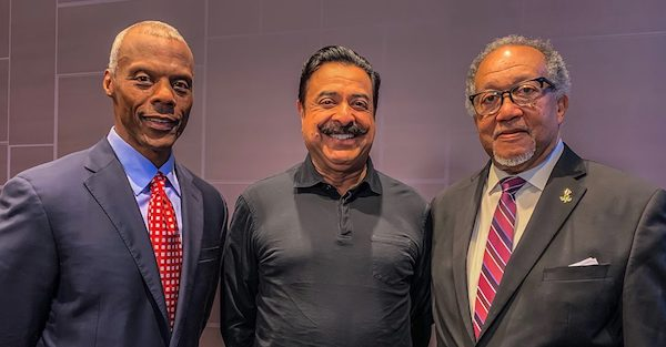 NNPA President and CEO Benjamin F. Chavis Jr. (right), who participated in the teleconference, said the NNPA's partnership with the BNC is a profound win-win for Black America. Also pictured are former Republican U.S. Rep. J.C. Watts (left), chairman of BNC, and Jacksonville Jaguars owner Shad Khan, who is a primary investor in the new network. (Courtesy of NNPA Newswire)