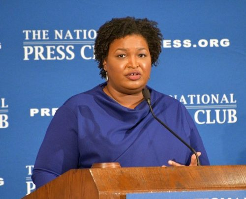 Former Georgia gubernatorial candidate Stacey Abrams speaks at the National Press Club in D.C. on Nov. 15. (Anthony Tilghman/The Washington Informer)