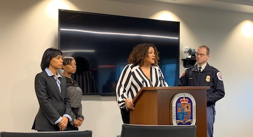 Jennifer Donelan, spokeswoman for the Prince George's County Police Department, speaks at a Nov. 15 press conference to discuss details about a high school teacher accused of assaulting a student. (Anthony Tilghman/The Washington Informer)