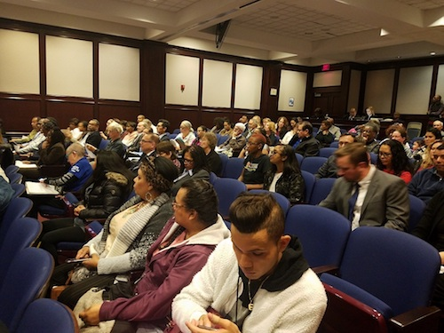 Dozens of residents, community leaders and supporters attend a Prince George's County Council meeting in Upper Marlboro on Nov. 19 to support legislation that requires local law enforcement to not honor Immigration and Customs Enforcement detainers. (William J. Ford/The Washington Informer)