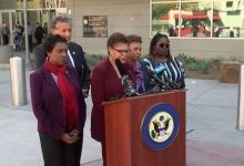 Members of the Congressional Black Caucus, Rep. Karen Bass (D-CA) (center), Rep. Barbara Lee (D-CA) (fourth from left), and Congresswoman Yvette Clarke (D-NY) (far left), along with local Congressman, Rep. Juan Vargas (second from left), visited a shelter for African asylum-seekers in Tijuana November 22, 2019. Attorney Nana Gyamfi, the executive director of the Black Alliance for Just Immigration (far right), joined the group at the border. (Screen capture KPBS/YouTube via NNPA Newswire)