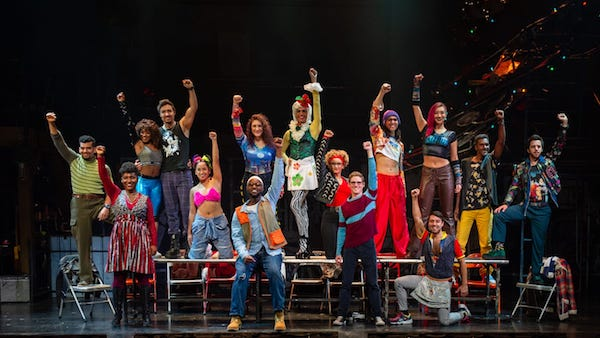 "The cast of ""Rent"" prepares for the return of the award-winning musical which comes to the District at the National Theatre for its highly anticipated 20th-anniversary tour production, Nov. 12-17. (Courtesy of National Theatre)"