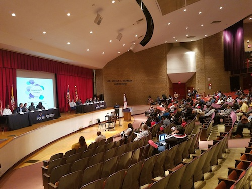 Prince George's County department and agency directors participate in an Oct. 30 community forum at Eleanor Roosevelt High School in Greenbelt, Md. (William J. Ford/The Washington Informer)