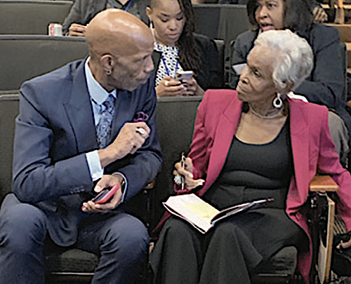 Dorothy Butler Gilliam (right), the first Black female reporter at The Washington Post, speaks with Washington Informer Editor D. Kevin McNeir during the Maynard Institute for Journalism Education's Maynard 200 fellowship program at USC Annenberg School for Communication and Journalism in Los Angeles.