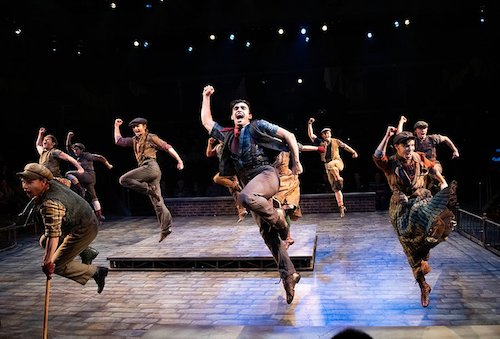 "The cast of Disney's ""Newsies,"" running through Dec. 22 at Arena Stage at the Mead Center for American Theater (Courtesy of Margot Schulman)"