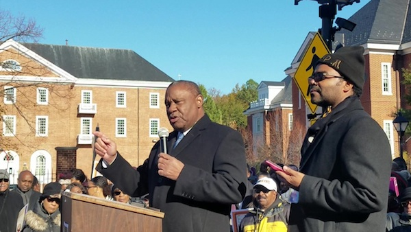 Alvin Thornton (left), chair of the Prince George's County school board, speaks during a Nov. 13 rally in Annapolis to push for an end to a 13-year lawsuit for Maryland's four historically Black colleges and universities to receive adequate funding. (William J. Ford/The Washington Informer)