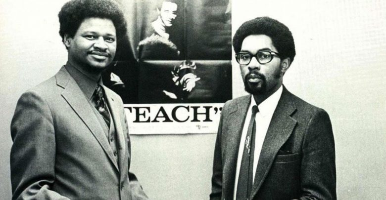 Director of the Black Studies Center Lenwood Davis (left) awards the first certificate ever issues in Black Studies at Portland State to Clarence Barry in 1972. (Photo from 1972 Viking yearbook, courtesy of PSU)