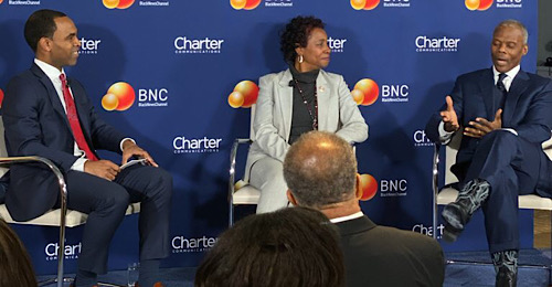 From left: Waldo McMillian of Charter Communications, Rep. Yvette Clarke (D-N.Y.) and BNC Chairman J.C. Watts (Cheryl Brownlee via NNPA Newswire)