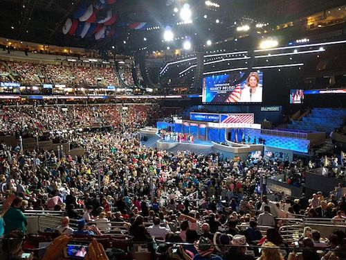 A view of the stage at the Wells Fargo Center during the 2016 Democratic National Convention (Wikimedia Commons)