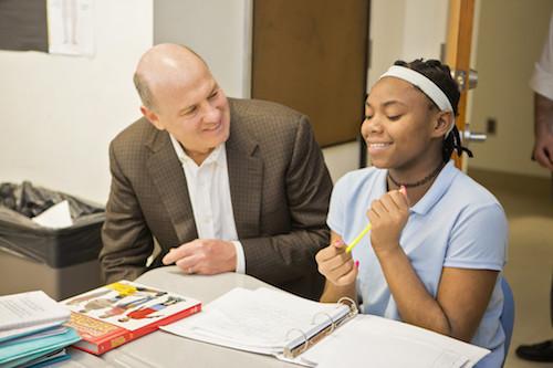 Scott Pearson visits Meridian Public Charter School. (Courtesy of D.C. Public Charter School Board)