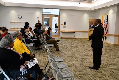 Alvin Thornton (right), chair of the Prince George's County school board, discusses part of the recommendations from the Commission on Innovation and Excellence in Education plan at Laurel Public Library on Dec. 7. (Anthony Tilghman/The Washington Informer)