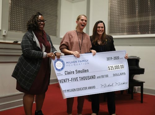 Art teacher Claire Smullen won her Milken Award this fall for her efforts at Stuart-Hobson Middle School. (DCPS photo)