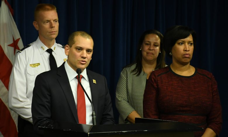 D.C. Mayor Muriel Bowser and Christopher Rodriguez, director of D.C.'s homeland security and emergency services management agency, address the media during a Jan. 9 news conference. (Roy Lewis/The Washington Informer)
