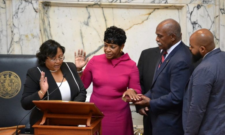 Del. Adrienne Jones (center) is officially sworn in as Maryland House Speaker on Jan. 8. She is the first Black and first woman to hold the position. (Brigette Squire/The Washington Informer)