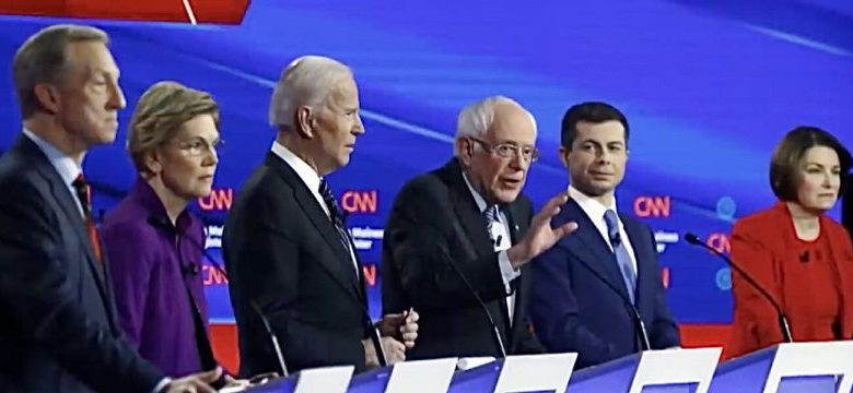 Tom Steyer, Sen. Elizabeth Warren, Joe Biden, Sen. Bernie Sanders, Pete Buttigieg and Sen. Amy Klobuchar participate in a Democratic presidential candidates' debate at Drake University in Des Moines, Iowa, on Jan. 14.